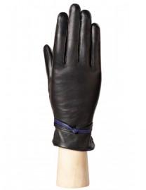 Зимние кожаные перчатки подкладка из шелка AND W12FH-0925-s black/violet (Anyday)