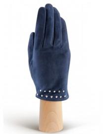 Зимние кожаные женские перчатки подкладка из шелка IS02011-R d.blue (Eleganzza)