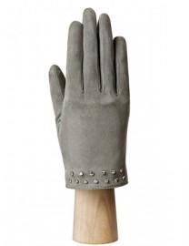 Зимние кожаные женские перчатки подкладка из шелка IS02011-R d.grey (Eleganzza)