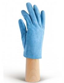 Зимние кожаные женские перчатки подкладка из шелка IS02011 blue (Eleganzza)