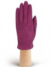 Зимние кожаные женские перчатки подкладка из шелка IS02011 cranberry (Eleganzza)