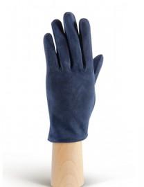 Зимние кожаные женские перчатки подкладка из шелка IS02011 d.blue (Eleganzza)