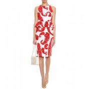 Красно-белое платье с баской Victoria Beckham