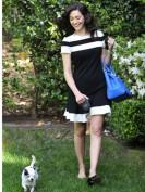 Черно-белое платье с юбкой годе Chanel