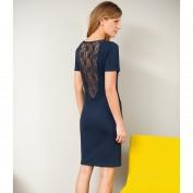 Платье с кружевной спинкой и короткими рукавами