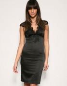 Черное атласное платье с кружевом Asos