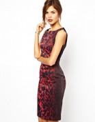 Красное атласное платье с леопардовым принтом Asos