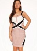 Красивое бандажное платье бежевого цвета Herve Leger