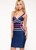 Синее бандажное платье с леопардовым рисунком Herve Leger