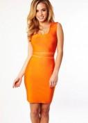Оранжевое бандажное платье с прозрачными вставочками Herve Leger
