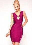 Фиолетовое бандажное платье с золотыми шипами Herve Leger