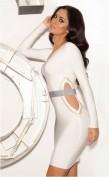 Белое бандажное вечернее платье с длинными рукавами Herve Leger