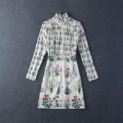 Короткое белое платье из шелка с длинным рукавом Valentino