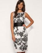 Коктейльное белое платье с черным поясом Coast