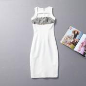 Облегающее белое платье со сверкающим лифом Burberry