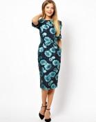 Стильное бирюзовое платье с цветочным мотивом Anne Klein