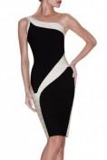 Элегантное черно-белое бандажное платье Herve Leger