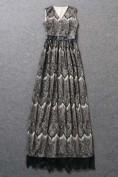 Длинное черное платье из гипюра Aquilano Rimondi