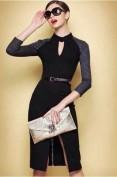 Повседневное черное платье с серыми рукавами Victoria Beckham