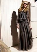Длинное черное платье в мелкий белый горошек Dolce and Gabbana