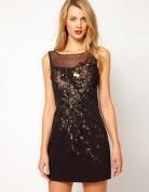 Короткое черное вечернее платье расшитое паетками Asos
