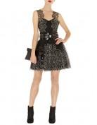 Кружевное чёрное платье с серебристым орнаментом Asos