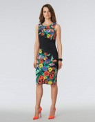 Облегающее чёрное платье с ярким цветочным принтом Anne Klein