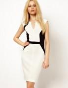 Белое деловое платье с V-образным вырезом Anne Klein