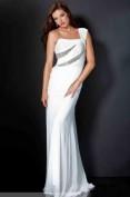 Белое длинное платье расшитое стразами Jovani