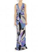 Синее длинное платье в греческом стиле Emilio Pucci