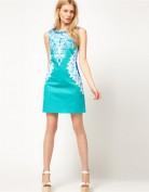 Короткое голубое платье с кружевным принтом Anne Klein