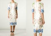 Платье из льняной ткани с нежным рисунком Dolce and Gabbana