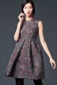 Бордовое коктейльное платье из парчи Dolce and Gabbana