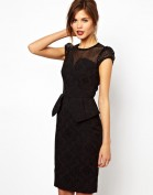 Черное коктейльное платье из жаккарда Karen Millen
