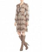 Стильное коричневое платье из шифона BCBG MaxAzria