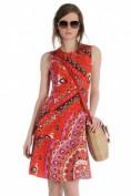 Короткое красное платье с восточным принтом Emilio Pucci