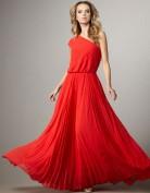 Длинное красное платье с юбкой плиссе BCBG MaxAzria