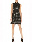 Черное кружевное платье на бирюзовом подкладе Asos