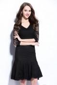Черное кружевное платье с юбкой-годе Christian Dior