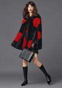 Черное кружевное платье в крупный красный горошек Dolce and Gabbana