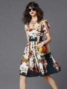 Легкое летнее цветное платье в горошек Dolce and Gabbana