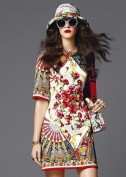 Цветное летнее платье с коротким рукавом Dolce and Gabbana