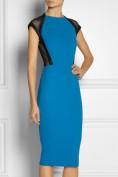 Синее облегающее платье с черными вставками Victoria Beckham