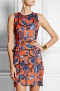 Короткое оранжевое атласное платье с баской Roberto Cavalli