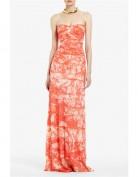 Длинное оранжевое платье-бюстье BCBG MaxAzria