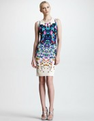 Белое платье-футляр с ярким принтом Roberto Cavalli
