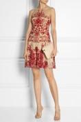Вечернее платье-сеточка с контрастной вышивкой Roberto Cavalli