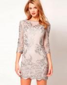 Серое платье-сеточка с вышивкой Asos