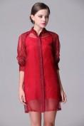 Красное платье из органзы и шелка Valentino