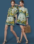 Цветное платье из жаккарда Dolce and Gabbana